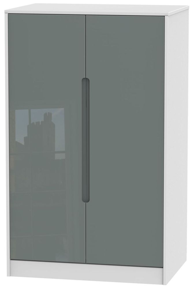 Monaco High Gloss Grey and White Wardrobe - 2ft 6in Plain Midi