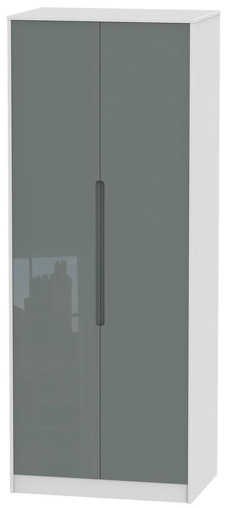 Monaco High Gloss Grey and White Wardrobe - Tall 2ft 6in Plain