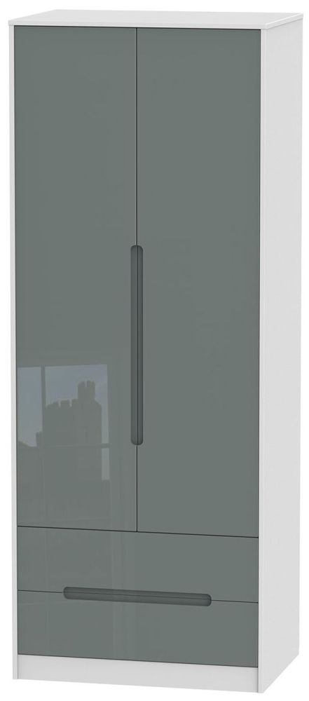 Monaco High Gloss Grey and White 2 Door 2 Drawer Tall Double Wardrobe
