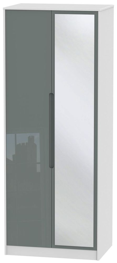 Monaco High Gloss Grey and White Wardrobe - Tall 2ft 6in with Mirror