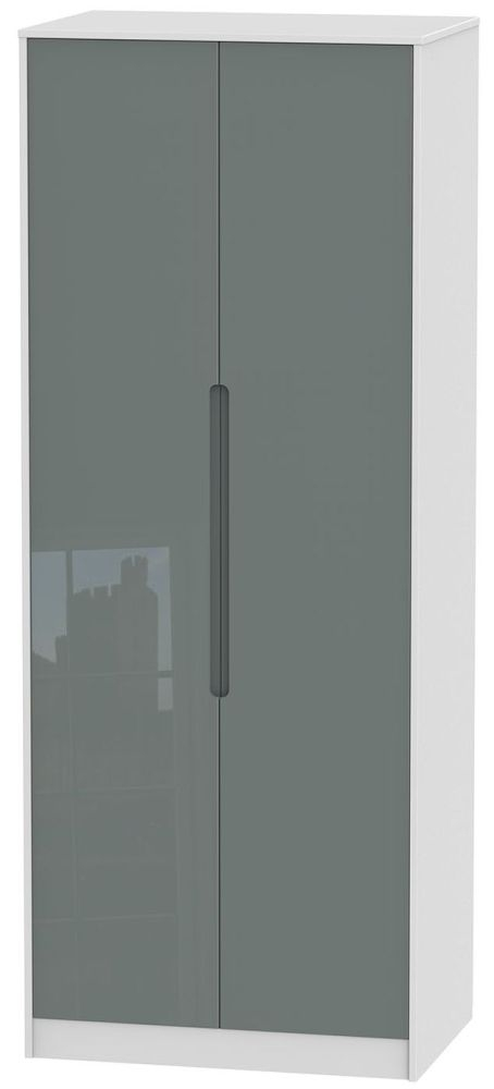 Monaco High Gloss Grey and White Wardrobe - Tall 2ft 6in with Double Hanging