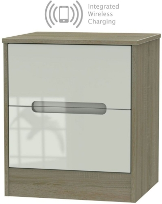 Monaco 2 Drawer Bedside Cabinet with Integrated Wireless Charging - High Gloss Kaschmir and Darkolino