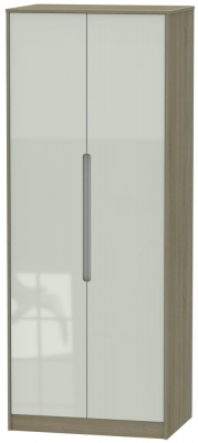 Monaco High Gloss Kaschmir and Darkolino 2 Door Tall Plain Double Wardrobe