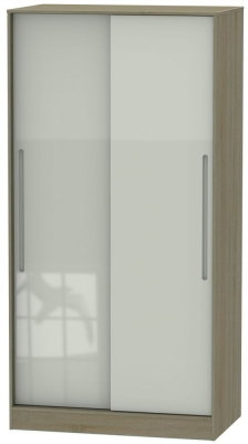 Monaco 2 Door Sliding Wardrobe - High Gloss Kaschmir and Darkolino
