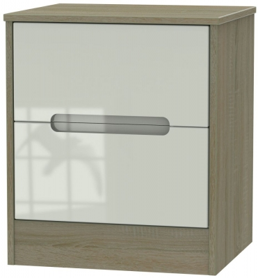 Monaco 2 Drawer Bedside Cabinet - High Gloss Kaschmir and Darkolino