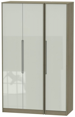 Monaco 3 Door Tall Wardrobe - High Gloss Kaschmir and Darkolino