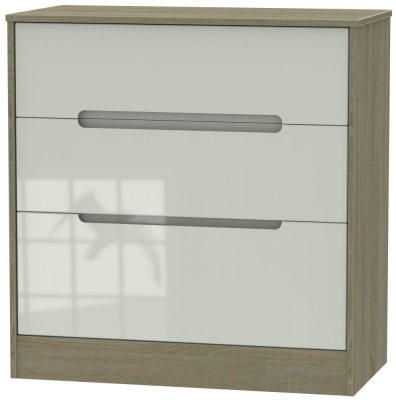 Monaco 3 Drawer Deep Chest - High Gloss Kaschmir and Darkolino