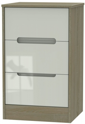 Monaco 3 Drawer Bedside Cabinet - High Gloss Kaschmir and Darkolino