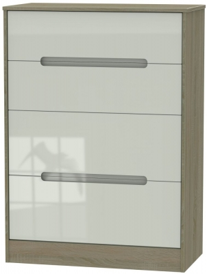 Monaco 4 Drawer Deep Chest - High Gloss Kaschmir and Darkolino