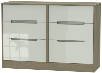 Monaco High Gloss Kaschmir and Darkolino 6 Drawer Midi Chest