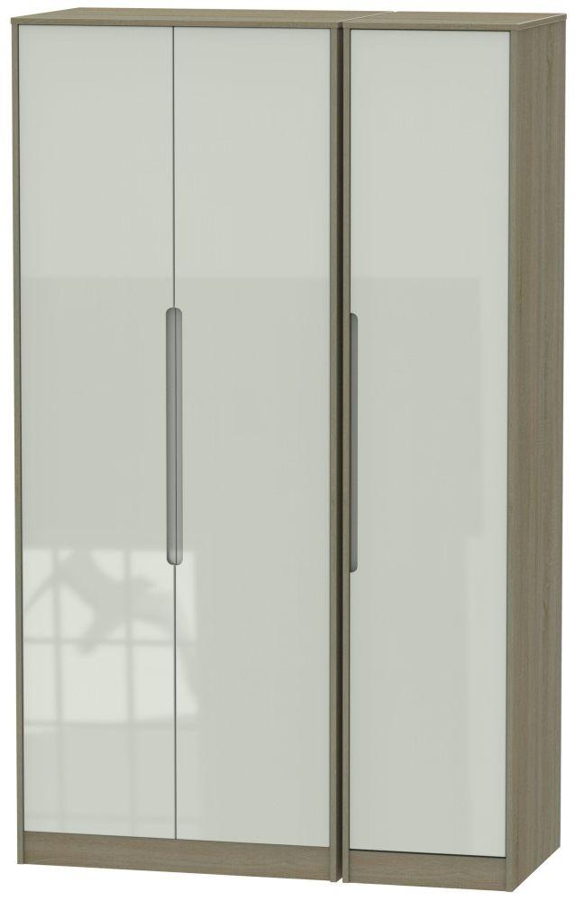 Monaco High Gloss Kaschmir and Darkolino 3 Door Tall Plain Triple Wardrobe