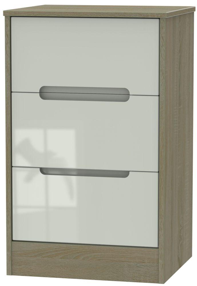 Monaco High Gloss Kaschmir and Darkolino 3 Drawer Locker Bedside Cabinet