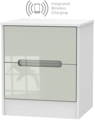 Monaco 2 Drawer Bedside Cabinet with Integrated Wireless Charging - High Gloss Kaschmir and White