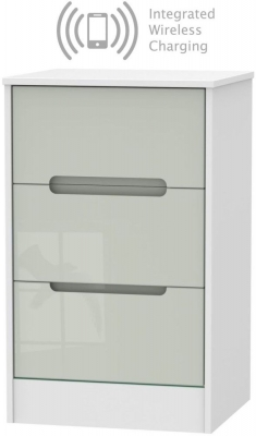 Monaco 3 Drawer Bedside Cabinet with Integrated Wireless Charging - High Gloss Kaschmir and White