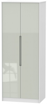 Monaco High Gloss Kaschmir and White 2 Door Tall Plain Double Wardrobe