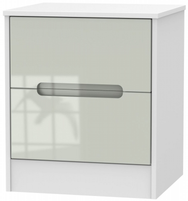 Monaco 2 Drawer Bedside Cabinet - High Gloss Kaschmir and White