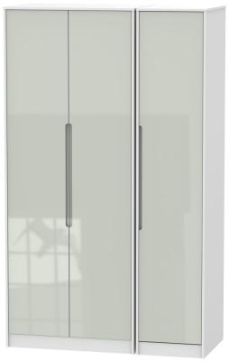 Monaco High Gloss Kaschmir and White 3 Door Tall Plain Triple Wardrobe
