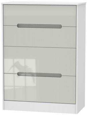 Monaco High Gloss Kaschmir and White 4 Drawer Deep Chest