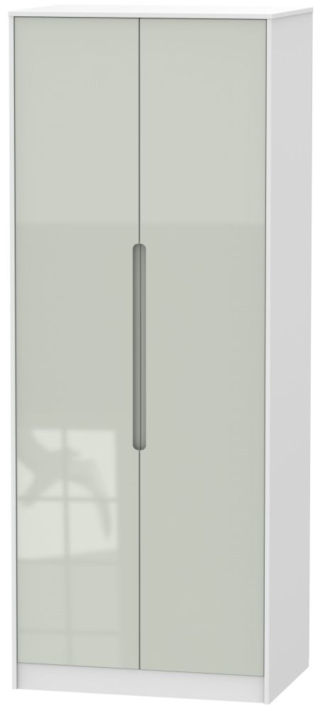 Monaco 2 Door Tall Wardrobe - High Gloss Kaschmir and White