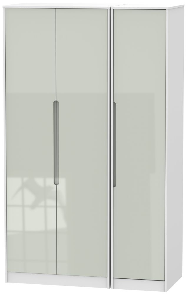 Monaco High Gloss Kaschmir and White 3 Door Tall Plain Triple Wardrobe