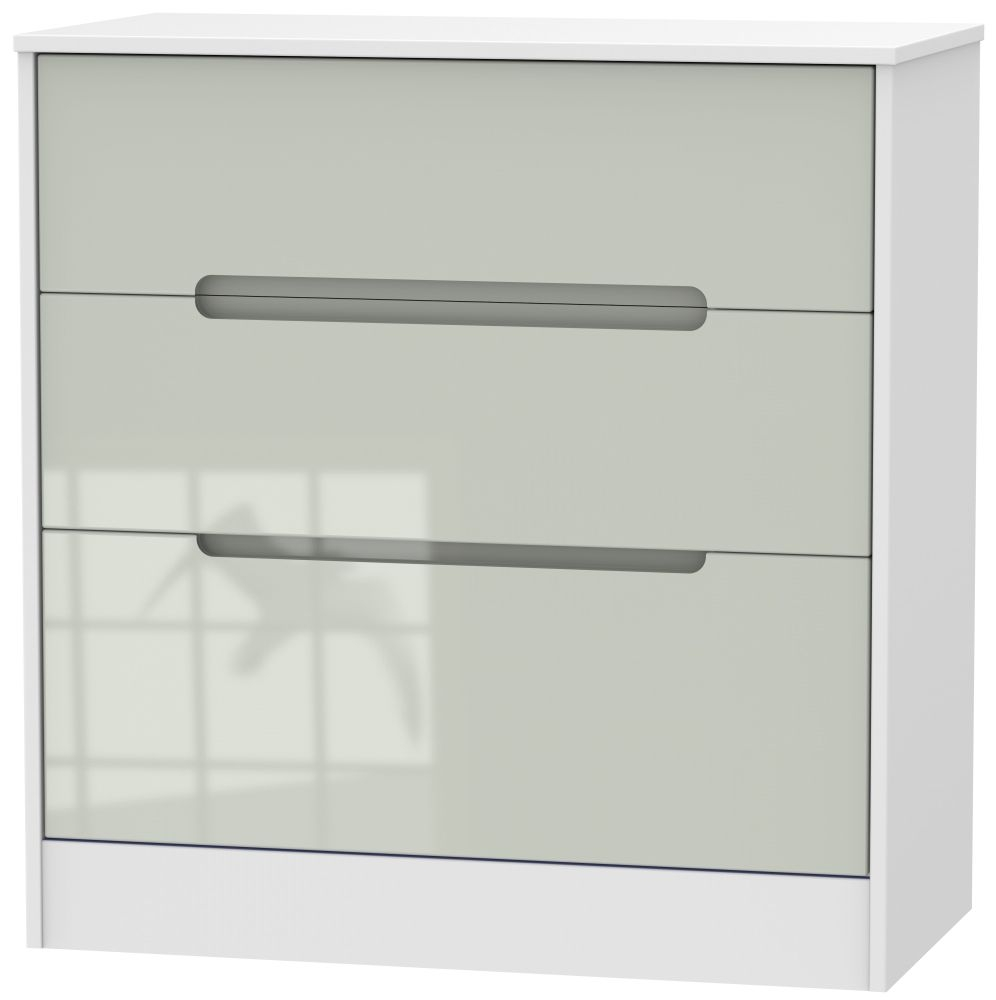 Monaco High Gloss Kaschmir and White 3 Drawer Deep Chest