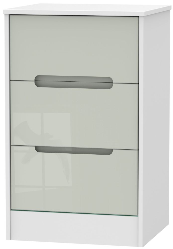 Monaco High Gloss Kaschmir and White 3 Drawer Locker Bedside Cabinet
