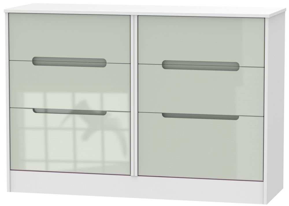 Monaco High Gloss Kaschmir and White 6 Drawer Midi Chest