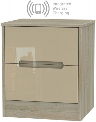 Monaco 2 Drawer Bedside Cabinet with Integrated Wireless Charging - High Gloss Mushroom and Darkolino