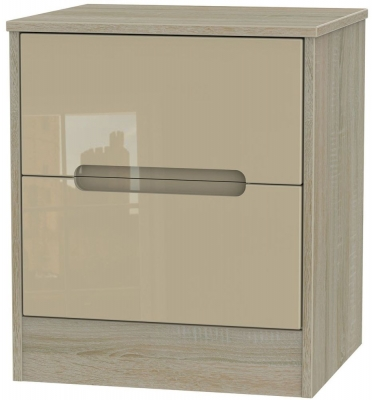 Monaco High Gloss Mushroom and Darkolino Bedside Cabinet - 2 Drawer Locker
