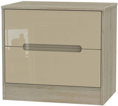 Monaco High Gloss Mushroom and Darkolino Chest of Drawer - 2 Drawer Midi