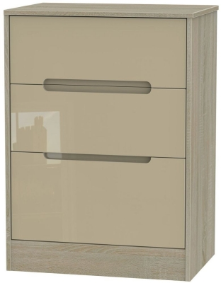 Monaco High Gloss Mushroom and Darkolino Chest of Drawer - 3 Drawer Deep Midi
