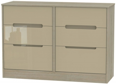 Monaco High Gloss Mushroom and Darkolino Chest of Drawer - 6 Drawer Midi