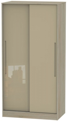 Monaco 2 Door Sliding Wardrobe - High Gloss Mushroom and Darkolino