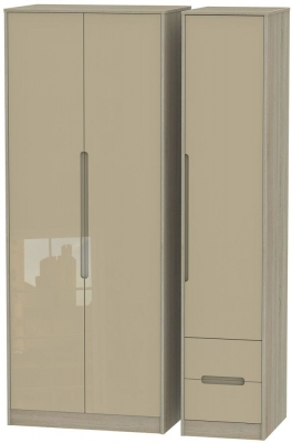 Monaco 3 Door 2 Right Drawer Tall Wardrobe - High Gloss Mushroom and Darkolino