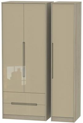 Monaco 3 Door 2 Left Drawer Tall Wardrobe - High Gloss Mushroom and Darkolino