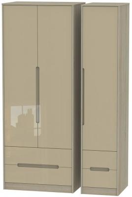 Monaco 3 Door 4 Drawer Tall Wardrobe - High Gloss Mushroom and Darkolino