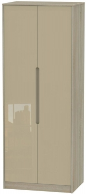 Monaco High Gloss Mushroom and Darkolino Wardrobe - Tall 2ft 6in Plain