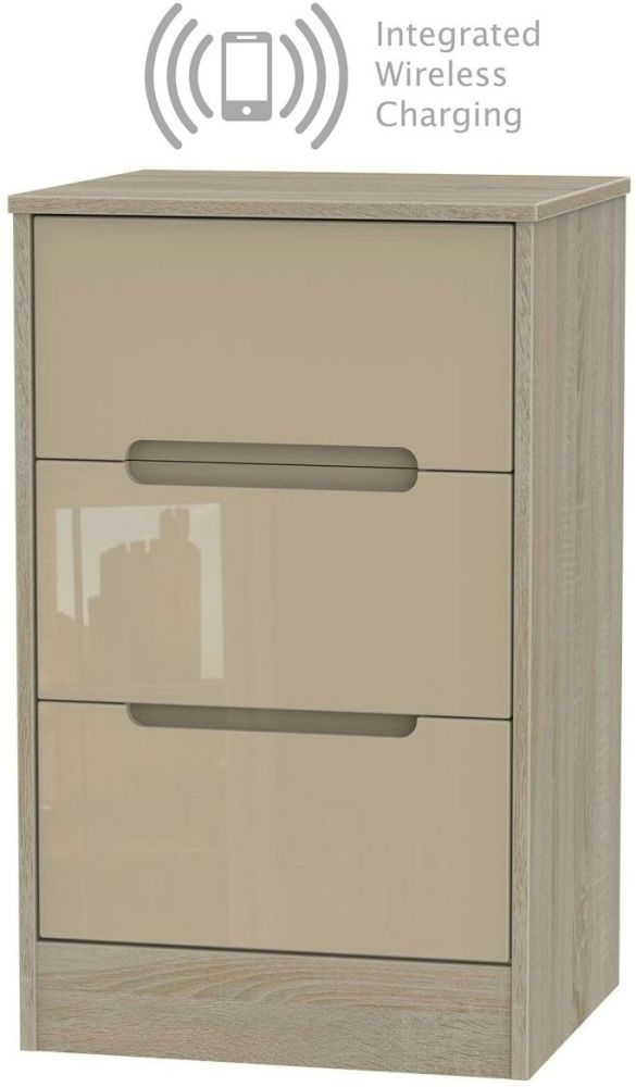 Monaco 3 Drawer Bedside Cabinet with Integrated Wireless Charging - High Gloss Mushroom and Darkolino