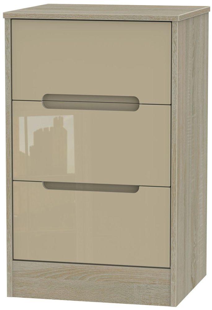 Monaco High Gloss Mushroom and Darkolino Bedside Cabinet - 3 Drawer Locker