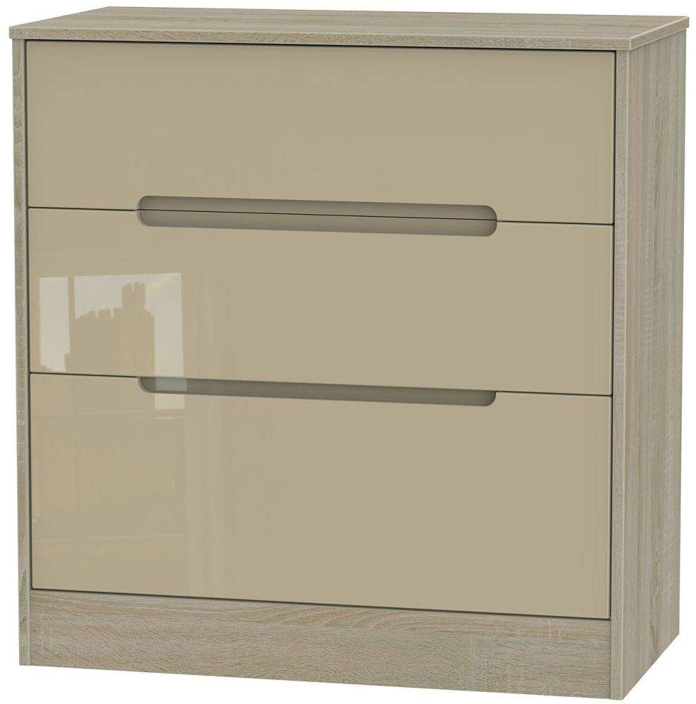 Monaco High Gloss Mushroom and Darkolino Chest of Drawer - 3 Drawer Deep