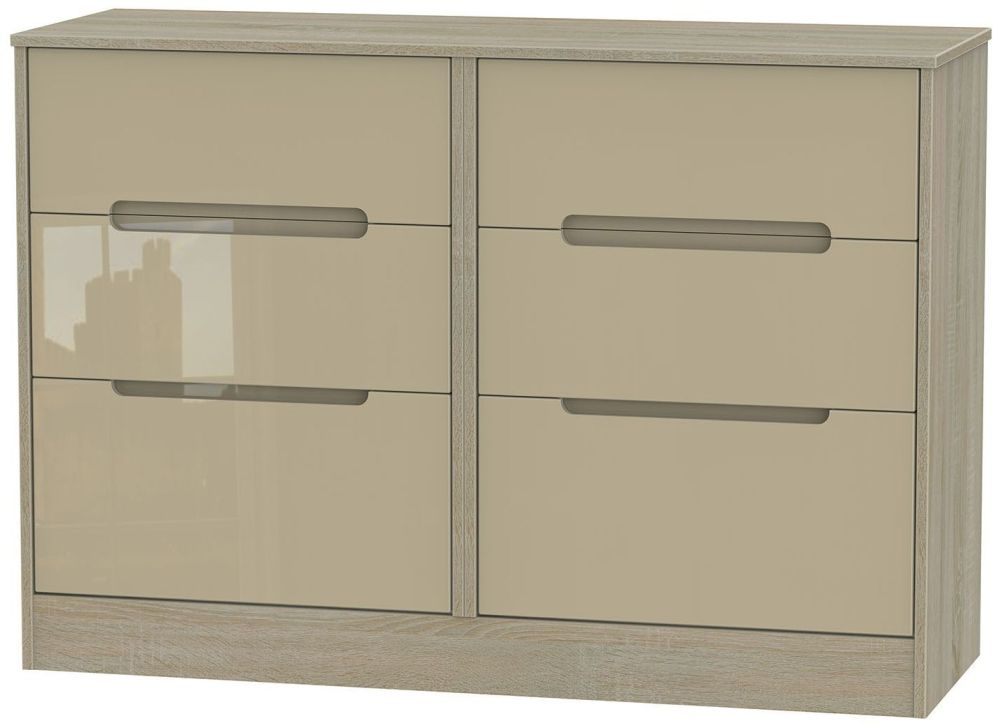Monaco 6 Drawer Midi Chest - High Gloss Mushroom and Darkolino