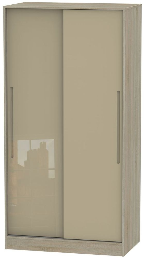 Monaco High Gloss Mushroom and Darkolino Sliding Wardrobe - Wide