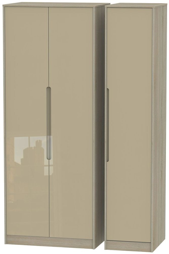 Monaco High Gloss Mushroom and Darkolino Triple Wardrobe - Tall Plain