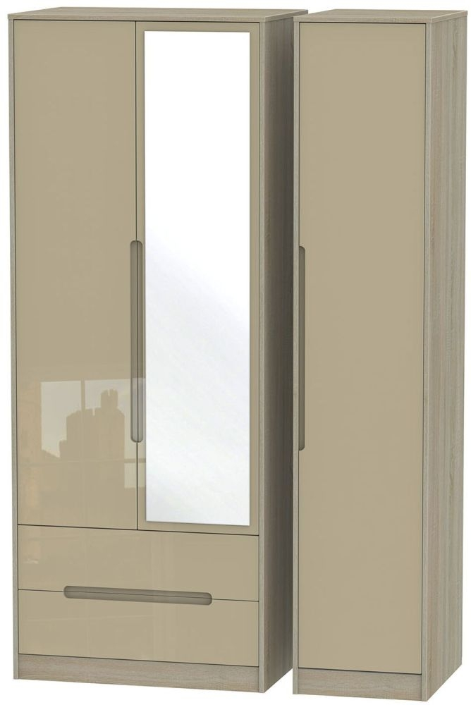 Monaco High Gloss Mushroom and Darkolino Triple Wardrobe - Tall with 2 Drawer and Mirror