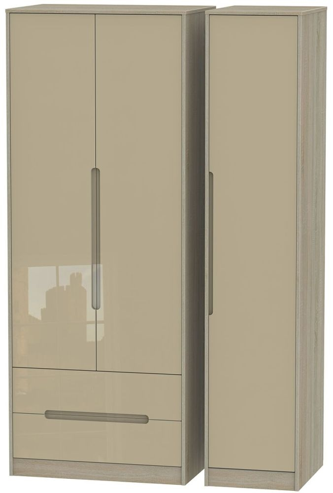 Monaco High Gloss Mushroom and Darkolino Triple Wardrobe - Tall with 2 Drawer