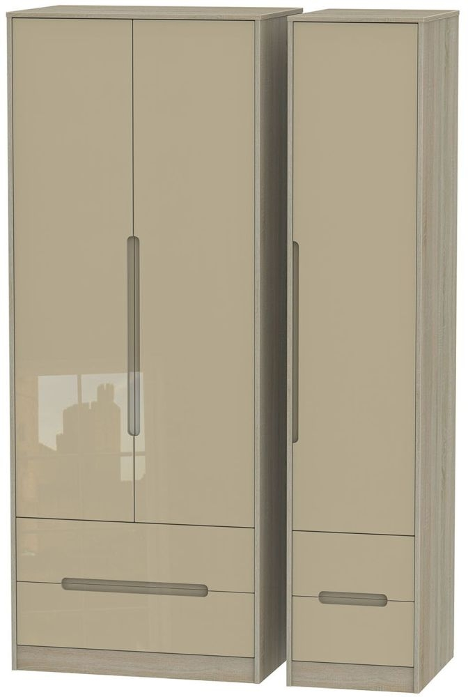 Monaco High Gloss Mushroom and Darkolino Triple Wardrobe - Tall with Drawer