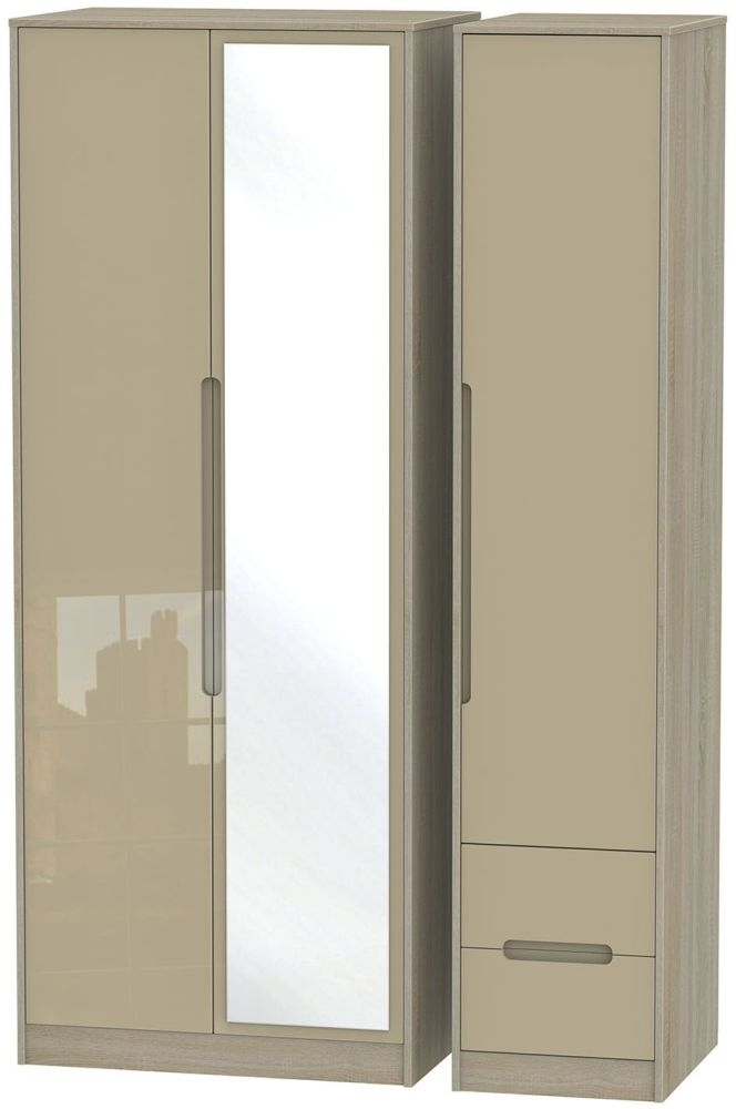Monaco High Gloss Mushroom and Darkolino Triple Wardrobe - Tall with Mirror and 2 Drawer