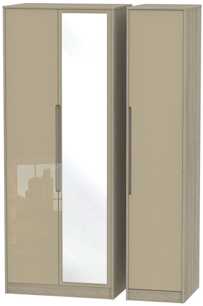 Monaco High Gloss Mushroom and Darkolino Triple Wardrobe - Tall with Mirror
