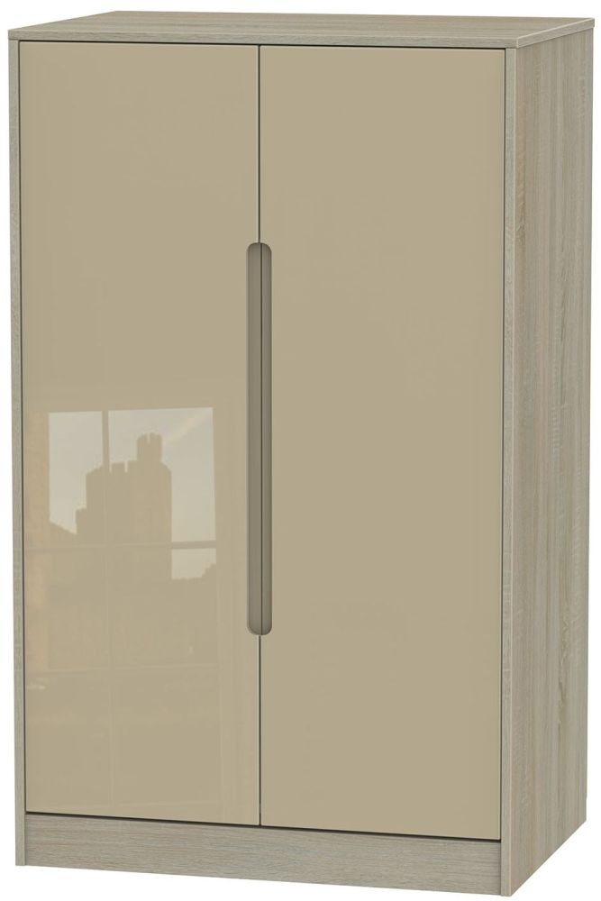Monaco High Gloss Mushroom and Darkolino Wardrobe - 2ft 6in Plain Midi