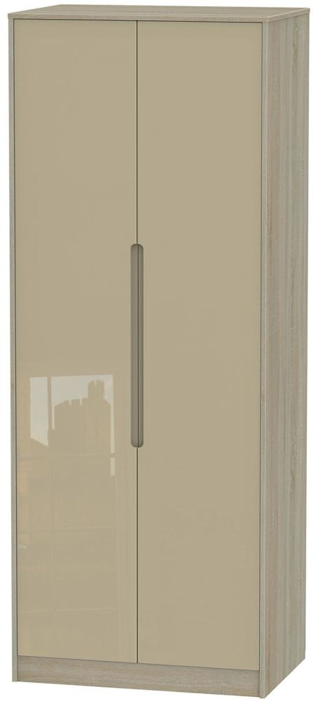 Monaco High Gloss Mushroom and Darkolino Wardrobe - Tall 2ft 6in Plain
